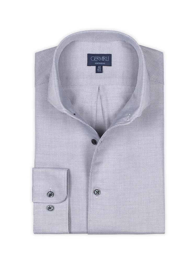 Germirli Nevapaş Tek Parça Yaka Gri Dokulu Tailor Fit Gömlek