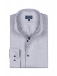 Germirli - Germirli Nevapaş Tek Parça Yaka Gri Dokulu Tailor Fit Gömlek (1)