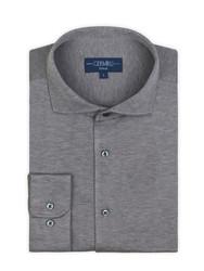 Germirli - Germirli Nevapaş Tek Parça Yaka Gri Tailor Piquet Fit Örme Gömlek (1)