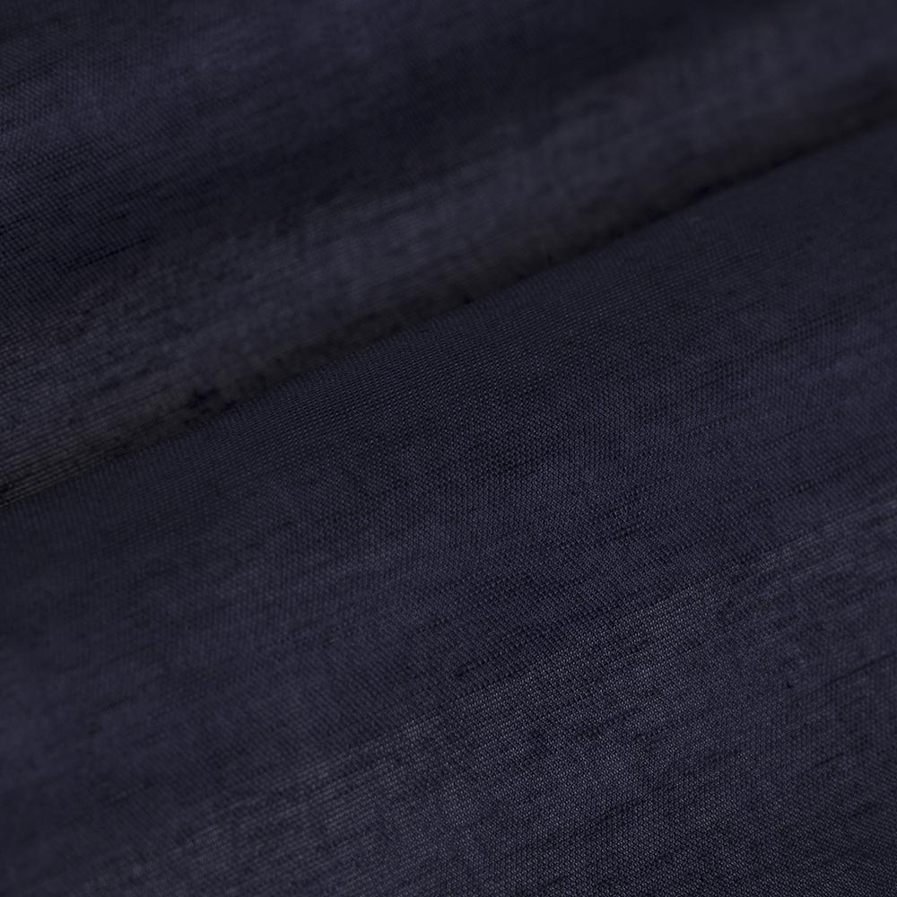 Germirli Nevapaş Tek Parça Yaka Lacivert Keten Tailor Fit Gömlek