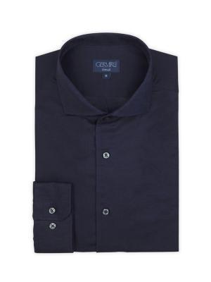 Germirli - Germirli Nevapaş Tek Parça Yaka Lacivert Keten Tailor Fit Gömlek (1)