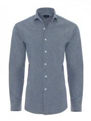 Germirli Nevapaş Tek Parça Yaka Mavi İndigo Tailor Fit Gömlek - Thumbnail