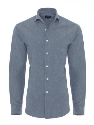 Germirli - Germirli Nevapaş Tek Parça Yaka Mavi İndigo Tailor Fit Gömlek