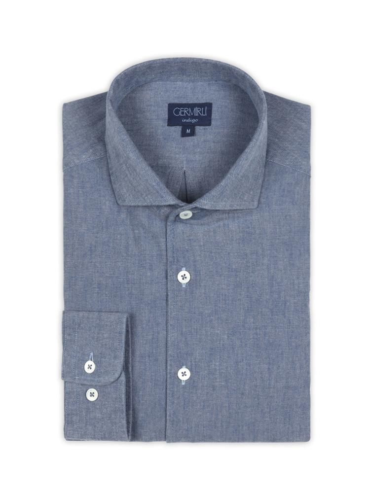 Germirli Nevapaş Tek Parça Yaka Mavi İndigo Tailor Fit Gömlek