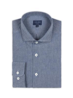 Germirli - Germirli Nevapaş Tek Parça Yaka Mavi İndigo Tailor Fit Gömlek (1)