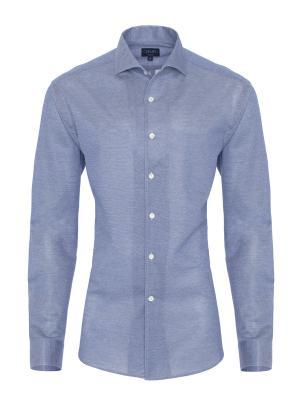Germirli - Germirli Nevapaş Tek Parça Yaka Mavi Örme Slim Fit Gömlek
