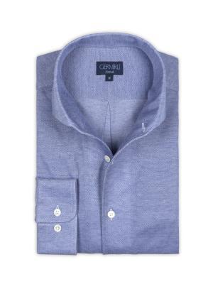 Germirli - Germirli Nevapaş Tek Parça Yaka Mavi Örme Slim Fit Gömlek (1)