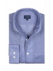 Germirli - Germirli Nevapaş Tek Parça Yaka Mavi Piquet Örme Tailor Fit Gömlek (1)