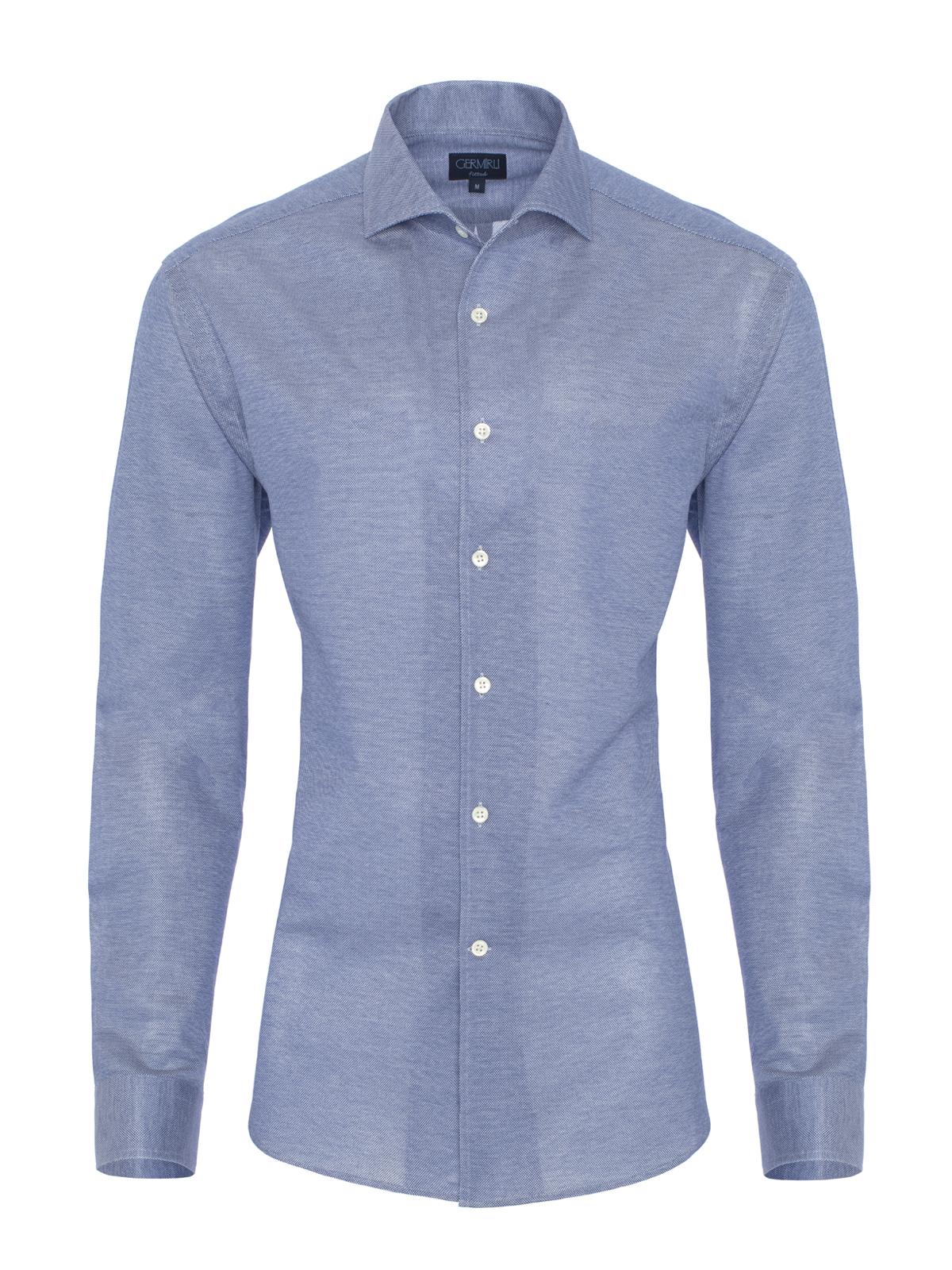 Germirli Nevapaş Tek Parça Yaka Mavi Piquet Örme Tailor Fit Gömlek