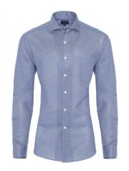 Germirli - Germirli Nevapaş Tek Parça Yaka Mavi Piquet Örme Tailor Fit Gömlek