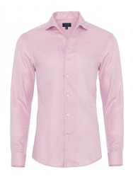 Germirli - Germirli Nevapaş Tek Parça Yaka Pembe Dokulu Tailor Fit Gömlek