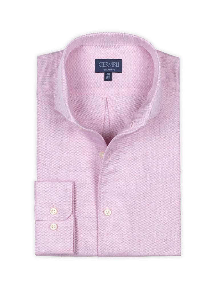 Germirli Nevapaş Tek Parça Yaka Pembe Dokulu Tailor Fit Gömlek