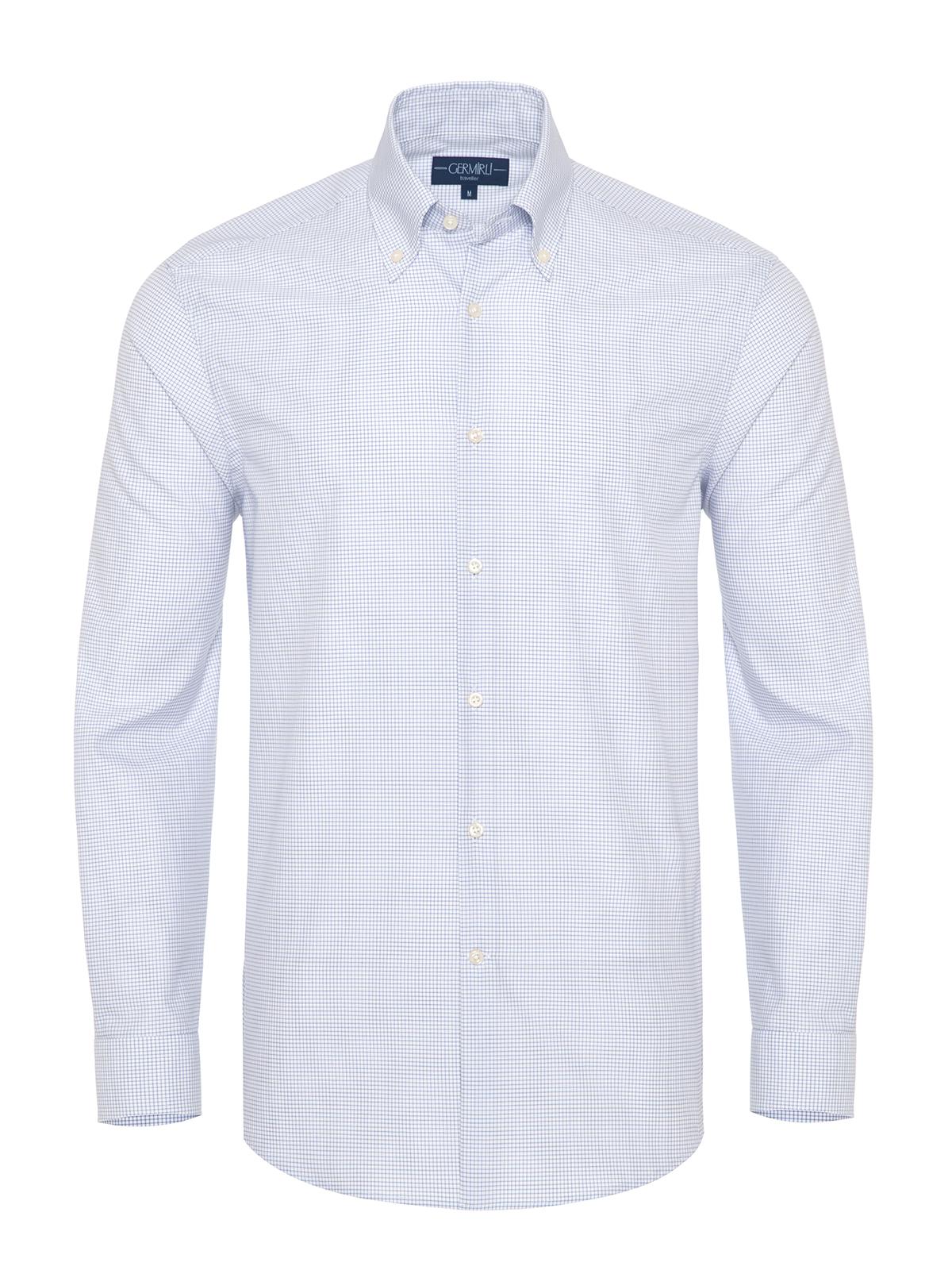 Germirli - Germirli Non Iron A. Mavi Beyaz Kareli Düğmeli Yaka Tailor Fit Journey Gömlek