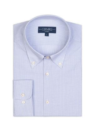 Germirli - Germirli Non Iron A. Mavi Beyaz Kareli Düğmeli Yaka Tailor Fit Journey Gömlek (1)