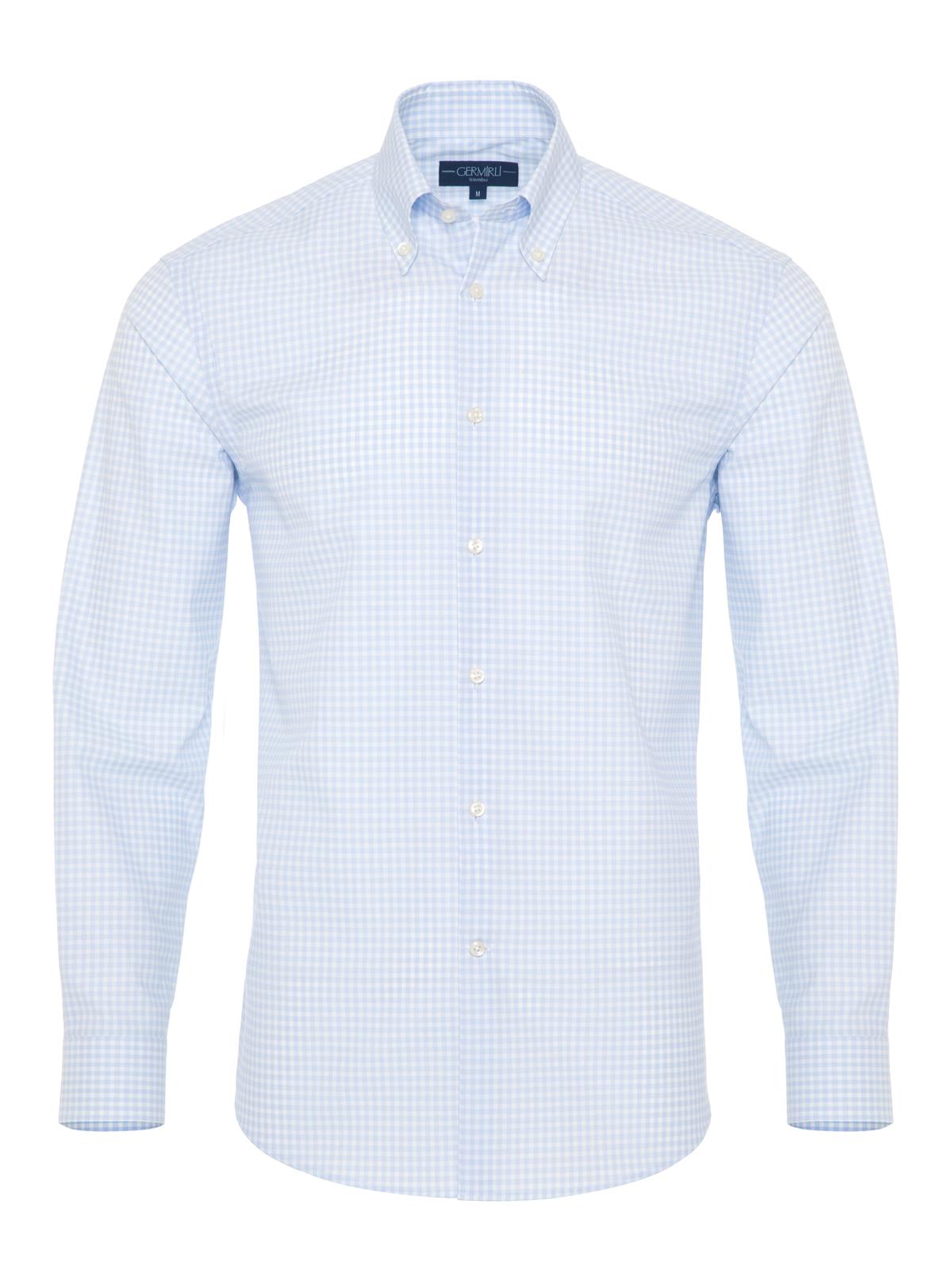Germirli Non Iron Açık Mavi Beyaz Kareli Düğmeli Yaka Tailor Fit Journey Gömlek