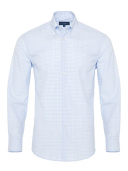 Germirli - Germirli Light Blue White Check Button Down Tailor Fit Journey Shirt