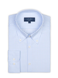 Germirli - Germirli Light Blue White Check Button Down Tailor Fit Journey Shirt (1)