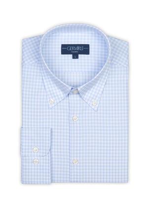 Germirli - Germirli Non Iron Açık Mavi Beyaz Kareli Düğmeli Yaka Tailor Fit Journey Gömlek (1)