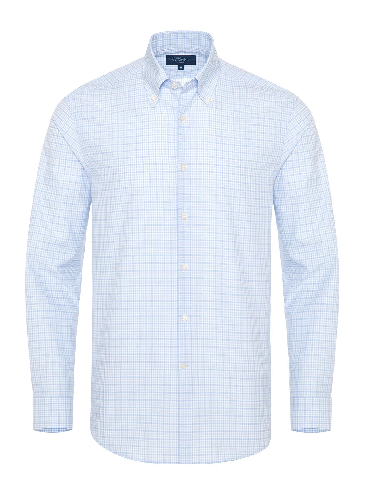 Germirli Non Iron Açık Mavi Beyaz Küçük Kareli Düğmeli Yaka Tailor Fit Journey Gömlek