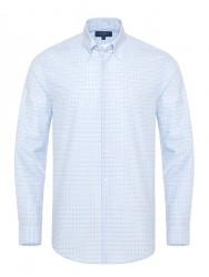 Germirli - Germirli Non Iron Açık Mavi Beyaz Küçük Kareli Düğmeli Yaka Tailor Fit Journey Gömlek
