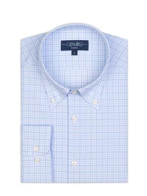 Germirli - Germirli Non Iron Açık Mavi Beyaz Küçük Kareli Düğmeli Yaka Tailor Fit Journey Gömlek (1)