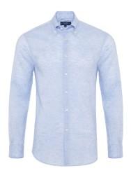 Germirli - Germirli Non Iron Açık Mavi Keten Düğmeli Yaka Tailor Fit Journey Gömlek