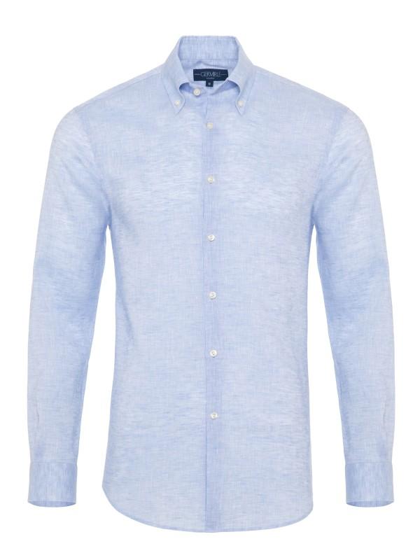 Germirli - Germirli Non Iron Light Blue Linen Button Down Tailor Fit Journey Shirt