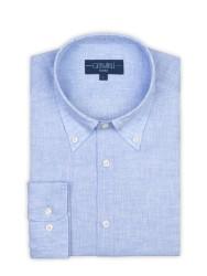 Germirli - Germirli Non Iron Açık Mavi Keten Düğmeli Yaka Tailor Fit Journey Gömlek (1)