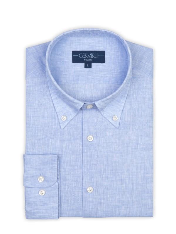 Germirli - Germirli Non Iron Light Blue Linen Button Down Tailor Fit Journey Shirt (1)