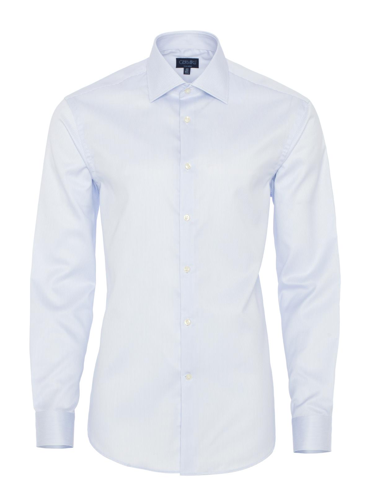 Germirli Non Iron A.Mavi Beyaz Çizgili Klasik Yaka Tailor Fit Journey Gömlek