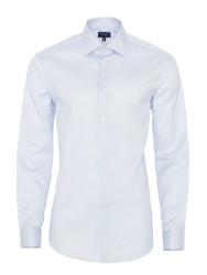 Germirli - Germirli Non Iron A.Mavi Beyaz Çizgili Klasik Yaka Tailor Fit Journey Gömlek