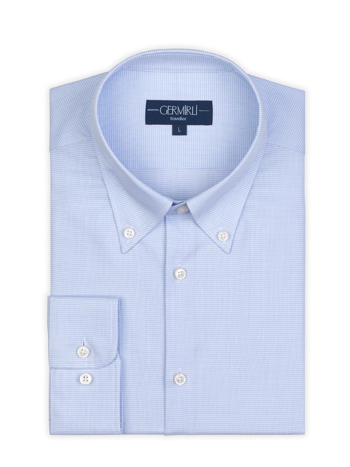 Germirli Non Iron A.Mavi Beyaz Kareli Düğmeli Yaka Tailor Fit Zero 24 Gömlek