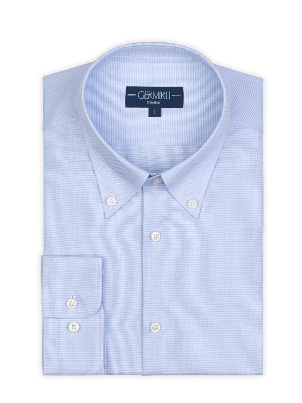Germirli - Germirli Non Iron A.Mavi Beyaz Kareli Düğmeli Yaka Tailor Fit Zero 24 Gömlek (1)