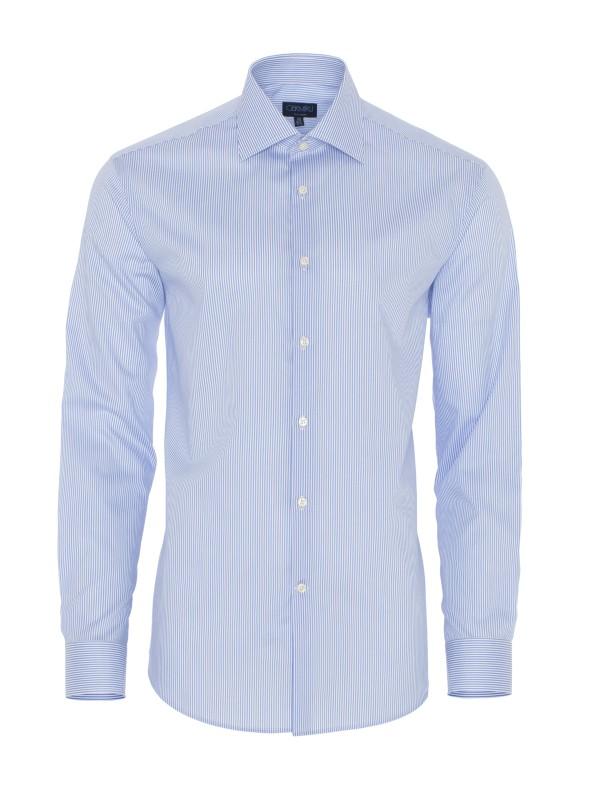 Germirli - Germirli Non Iron A.Mavi Çizgili Tailor Fit Gömlek