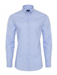 Germirli - Germirli Non Iron Açık Mavi Kareli Düğmeli Yaka Tailor Fit Gömlek