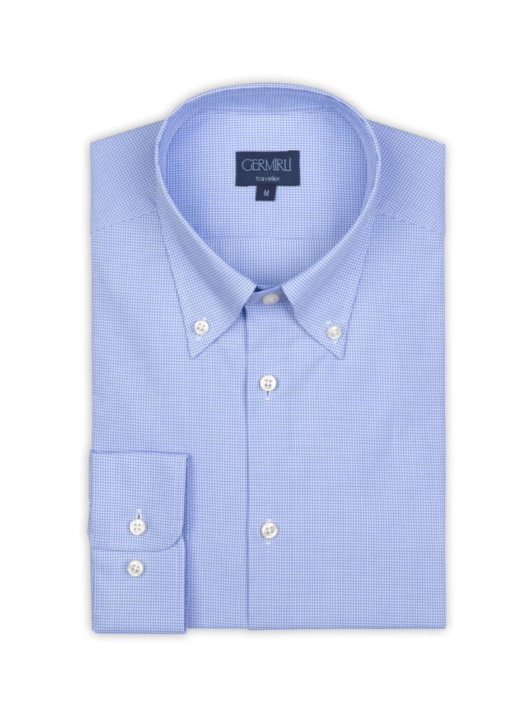 Germirli Non Iron Açık Mavi Kareli Düğmeli Yaka Tailor Fit Gömlek