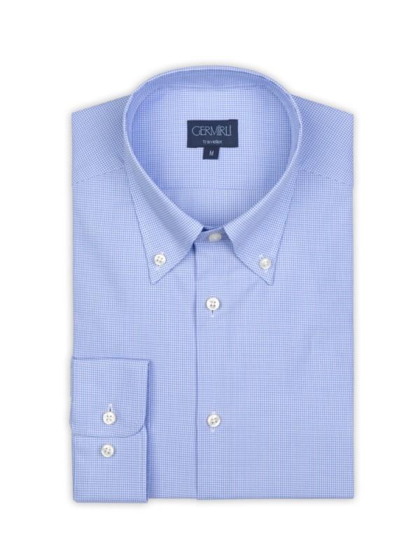 Germirli - Germirli Non Iron Açık Mavi Kareli Düğmeli Yaka Tailor Fit Gömlek (1)