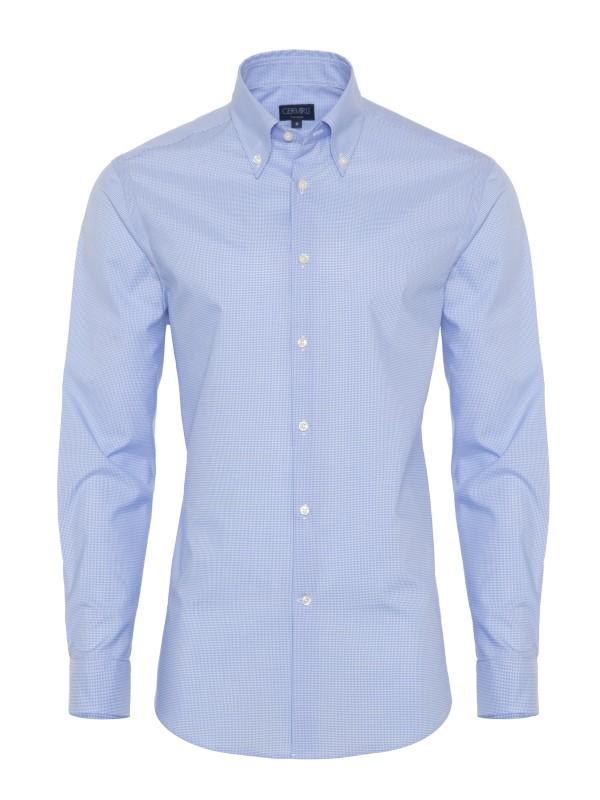 Germirli - Germirli Non Iron A.Mavi Kareli Düğmeli Yaka Tailor Fit Gömlek