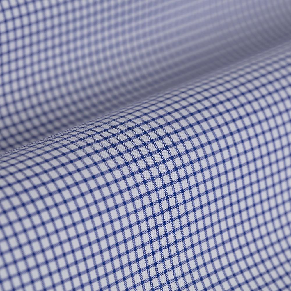Germirli Non Iron A.Mavi Kareli Klasik Yaka Tailor Fit Journey Gömlek