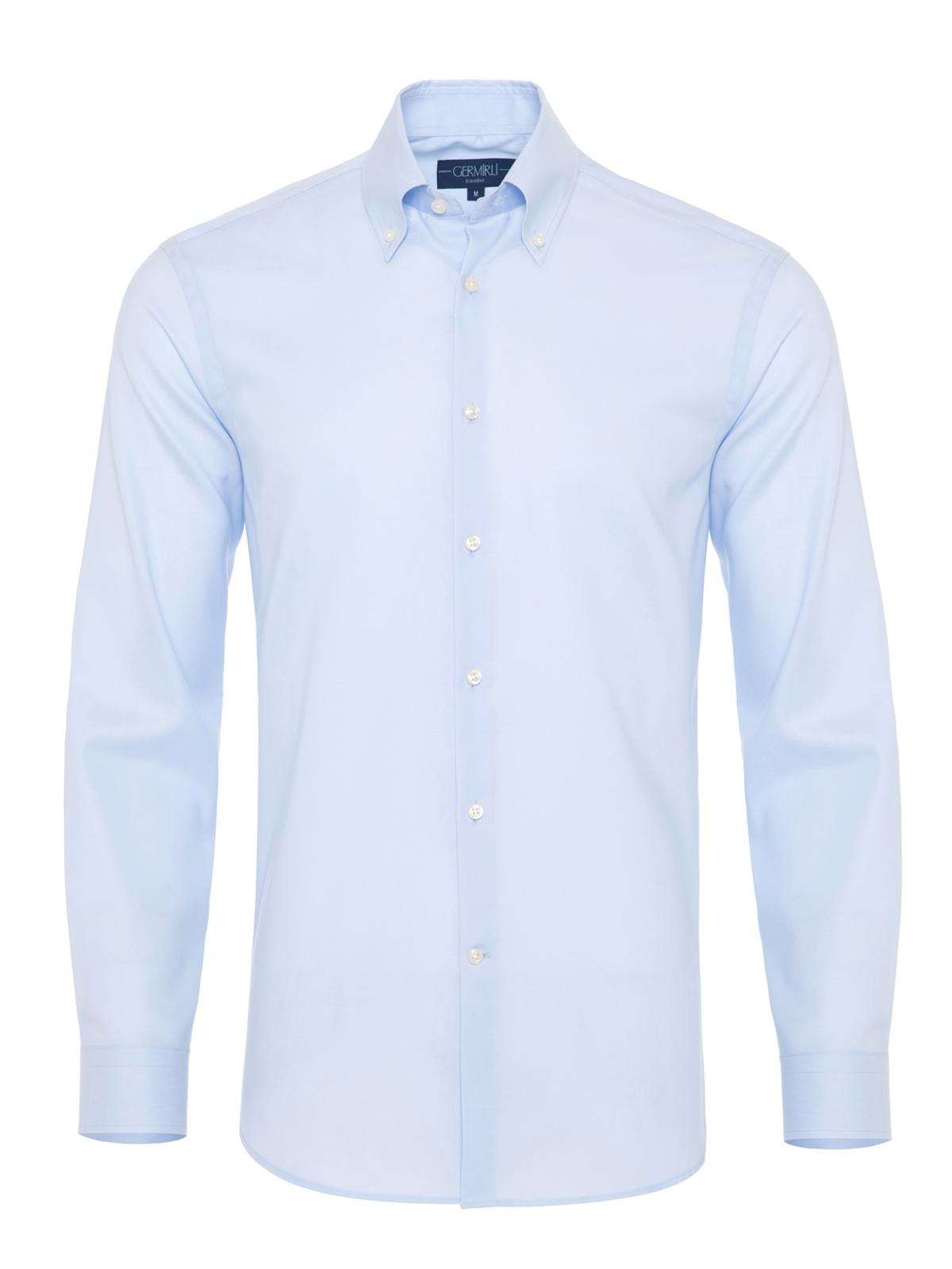 Germirli Non Iron A.Mavi Panama Düğmeli Yaka Tailor Fit Zero 24 Gömlek