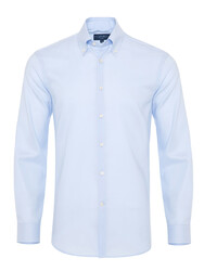 Germirli - Germirli Non Iron Light Blue Panama Button Down ,Tailor Fit Zero 24 Shirt