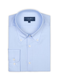 Germirli - Germirli Non Iron Light Blue Panama Button Down ,Tailor Fit Zero 24 Shirt (1)