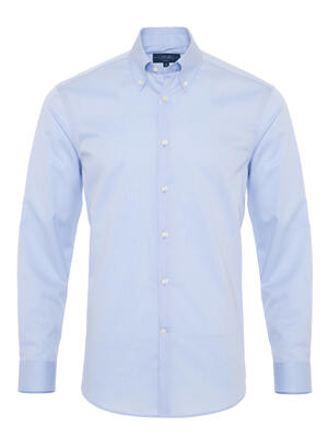 Germirli - Germirli Non Iron Light Blue Twill Button Down Tailor Fit Zero 24 Shirt