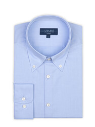 Germirli - Germirli Non Iron Light Blue Twill Button Down Tailor Fit Zero 24 Shirt (1)