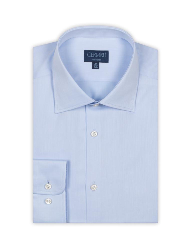 Germirli Non Iron A.Mavi Twill Tailor Fit Gömlek