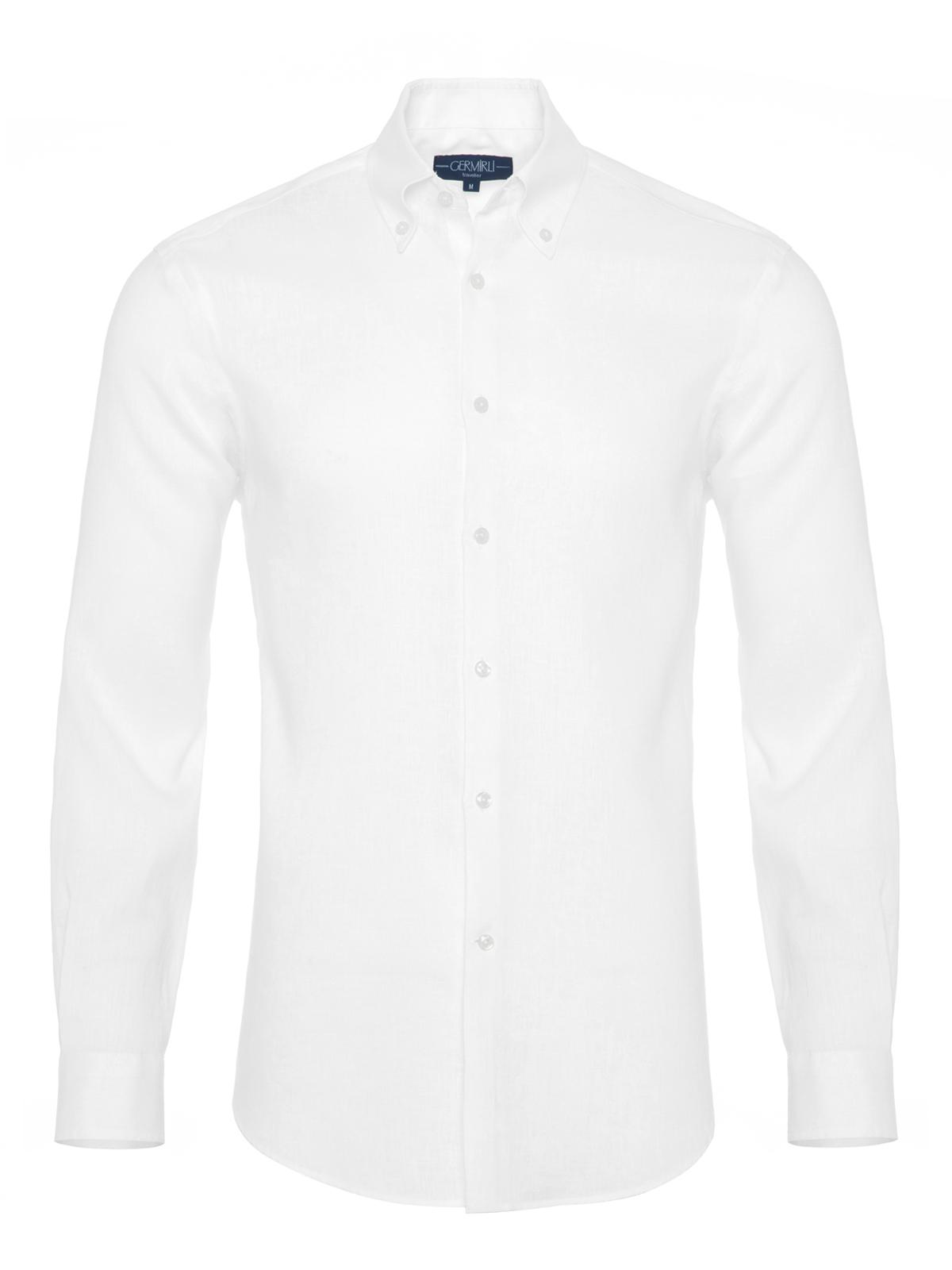Germirli - Germirli Non Iron Beyaz Keten Düğmeli Yaka Tailor Fit Journey Gömlek