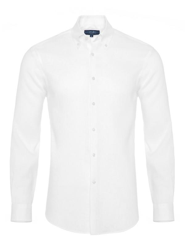 Germirli - Germirli Non Iron White Linen Button Down Tailor Fit Journey Shirt