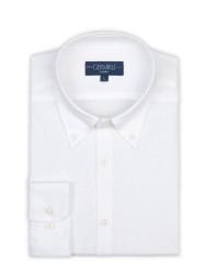 Germirli - Germirli Non Iron Beyaz Keten Düğmeli Yaka Tailor Fit Journey Gömlek (1)