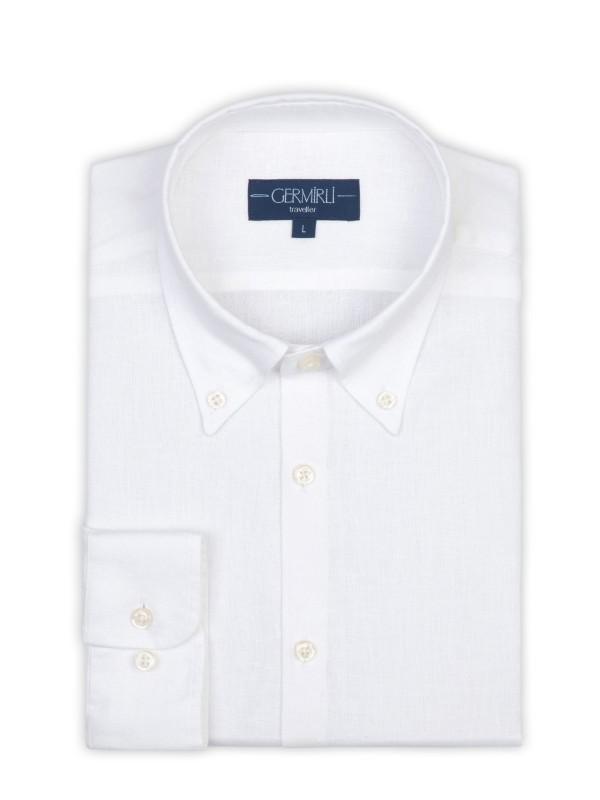 Germirli - Germirli Non Iron White Linen Button Down Tailor Fit Journey Shirt (1)