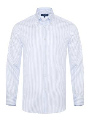 Germirli - Germirli Non Iron Beyaz Mavi Çizgili Düğmeli Yaka Tailor Fit Journey Gömlek